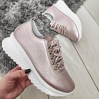 Кросівки жіночі шкіряні рожеві перфоровані, фото 1