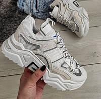 Кросівки жіночі білі з сірими вставками екошкіра, фото 1