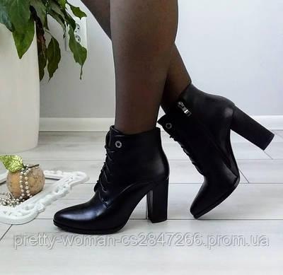 Черевики жіночі демісезонні чорні на каблуку екозамша