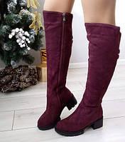 Ботфорти жіночі бордові зимові екозамшеві на середньому каблуку 38р, фото 1