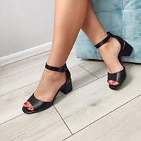 Босоножки женские черные на каблуке екокожа, фото 1