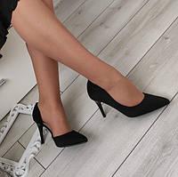 Туфлі лодочки чорні жіночі на каблуку шпильці екозамша, фото 1