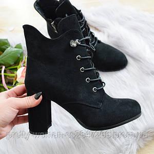 Ботинки женские черные екозамша на каблуке 37р