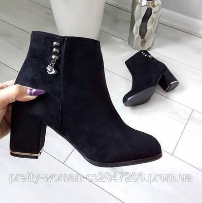 Черевики жіночі демісезонні чорні на каблуку екозамша 36