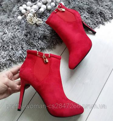 Черевики жіночі демісезонні червоні на каблуку шпильці екозамша
