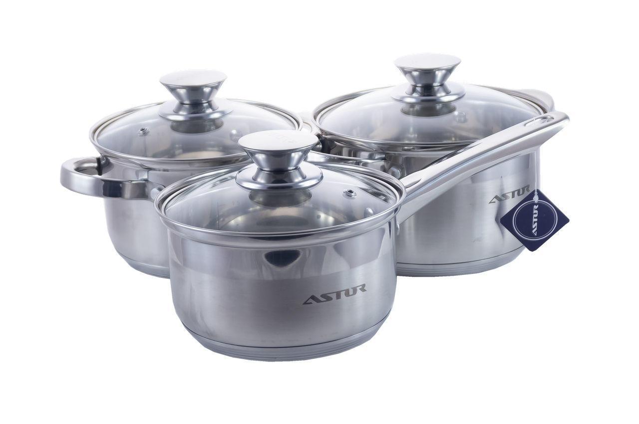 Набор посуды нержавеющий Astor - 2,9 x 5,1 + 2,1 л (3 шт.) AST 1709