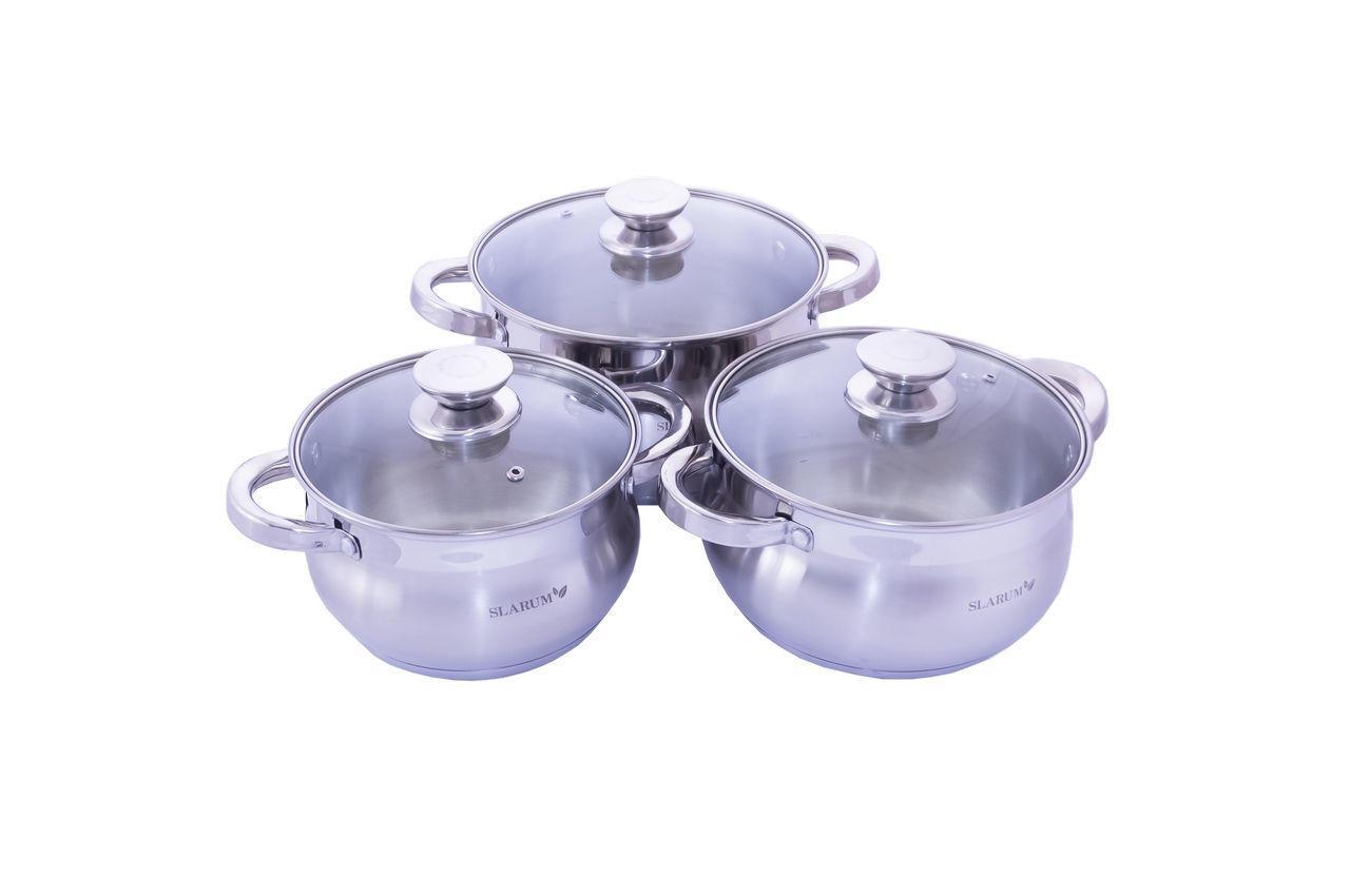 Набор посуды нержавеющий Slarum - 3шт (2 x 3 x 4л) SL-1306A