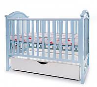 Кроватка для новорожденных с ящиком, бортиком и маятниковым механизмом качания Twins iLove L100-L-04, голубой