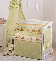 Постельный комплект хлопковый для детской кроватки с балдахином Медуны Twins Standard Basic, 8 эл., зеленый