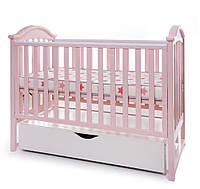 Детская кроватка из бука с маятниковым механизмом и ящиком iLove Twins, розовая