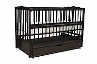 Кроватка детская с маятниковым механизмом из бука без ящика Радуга Twins (Дубок), черная