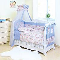 Хлопковый постельный комплект для детской кроватки Пушистые медведи Twins Standard Basic, 8 эл., голубой