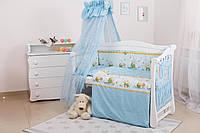 Постельный комплект для детской кроватки с балдахином Медуны Twins Standard Basic, 8 эл., голубой