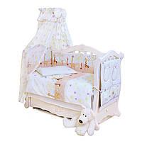 Постельный комплект для детской кроватки хлопковый Жирафы Twins Standard Basic, 8 эл., бежевый