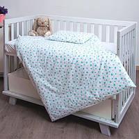Комплект хлопкового сменного постельного белья детский Сердечки Twins Romantic, 3 элемента, мятный