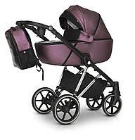 Детская коляска 3 в 1 из эко-кожи универсальная с алюминиевой рамой Verdi Makan Elektro 05, бордо