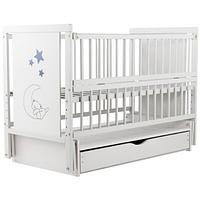 Детская кроватка из бука с ящиком и маятниковым механизмом Медвежонок Twins (Дубок), белая