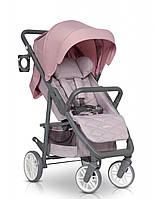 Коляска детская легкая прогулочная с поворотными колесами Euro-Cart Flex, розовый