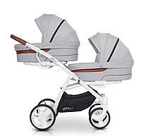 Многофункциональная детская коляска для двойни 2 в 1 регулируемой подножкой EasyGo 2 of Us, серый