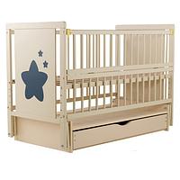 Кроватка детская из бука с ящиком и маятниковым механизмом Звездочка Twins (Дубок), бежевая