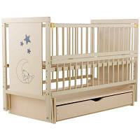 Детская кроватка с ящиком и маятниковым механизмом из бука Медвежонок Twins (Дубок), бежевая
