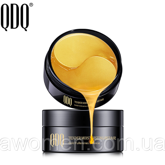 Уцінка! Патчі для очей QDQ Gold Fullerenes Essence Leaves Better з частинками золота (30 пар) не герметично!