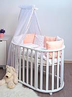 Постельный комплект для детской кроватки с балдахином хлопковый Сердечки Twins Dolce, 8 эл., розовый