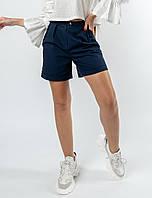 Льняные летние женские шорты с завышенной талией (Криспи-Лен ri) Черника