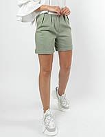 Льняные летние женские шорты с завышенной талией (Криспи-Лен ri) Оливка