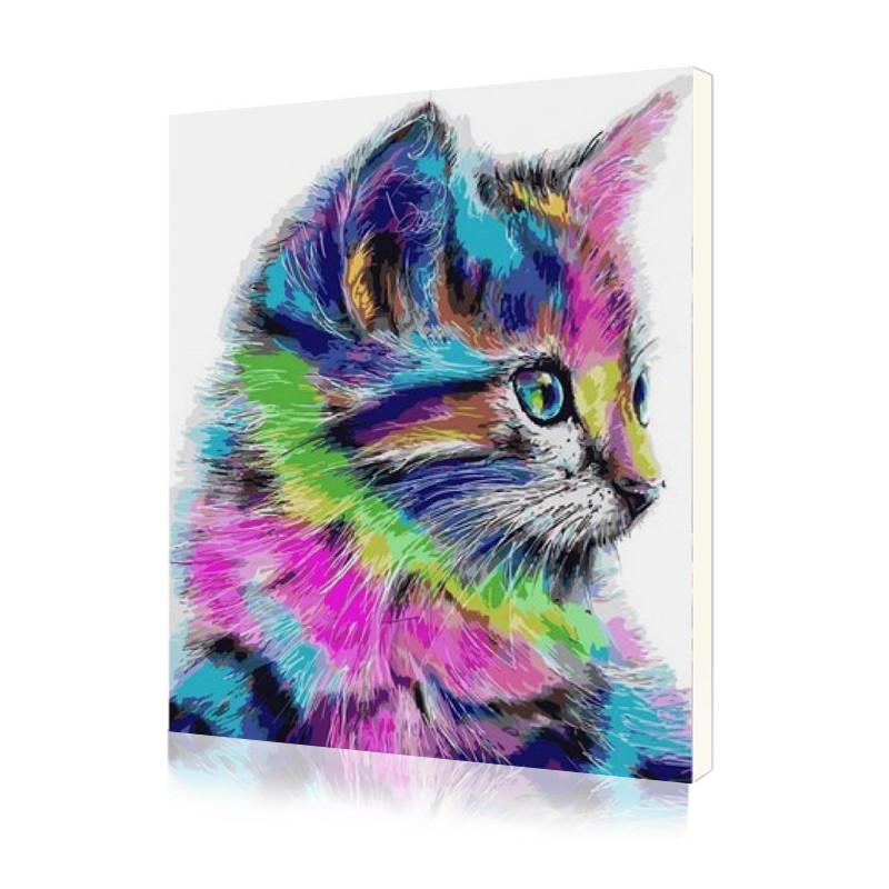 """Картина по номерам Lesko E-1012 """"Радужный котёнок 2"""" набор для творчества на холсте 40-50см рисование"""