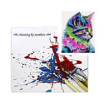 """Картина по номерам Lesko E-1012 """"Радужный котёнок 2"""" набор для творчества на холсте 40-50см рисование, фото 3"""