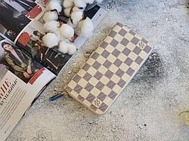Жіночий клатч Louis Vuitton, з натуральної шкіри / Гаманець Луї Вюіттон бежевий з принтом