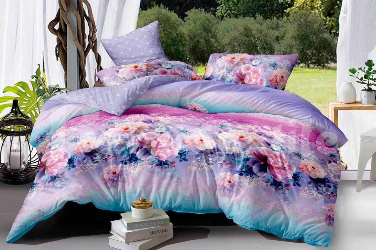 """Комплект постельного белья двуспальный ТМ """"Ловец снов"""", Цветы сиреневые"""