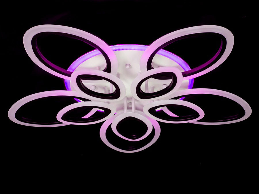 LED-люстра с диммером и цветной подсветкой цвет белый 165W Diasha&A8059/5+5WH LED 3color dimmer