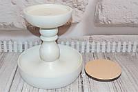 Деревянная основа под игольницу (высокая). Цвет: белый.