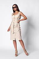 Стильный и модный летний льняной женский сарафан бежевого цвета на пуговицах и с поясом