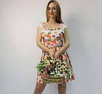 Нарядное летнее натуральное платье коттоновое коктейльное ЛЮКС-качество ярким принтом на свадьбу и выпускной 42 (XL)