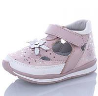 Детские босоножки из натуральной кожи, сандали для девочки розовые Jong Golf
