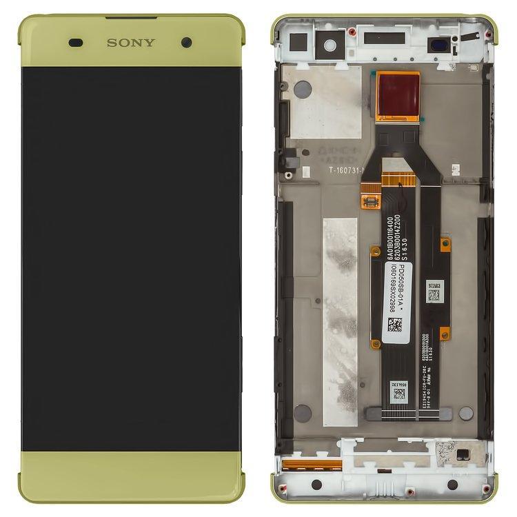 Дисплей (экран) для Sony F3111 Xperia XA с сенсором (тачскрином) и рамкой золотистый Оригинал