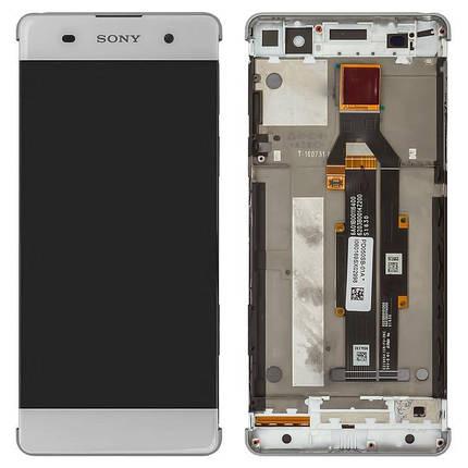 Дисплей (экран) для Sony F3112 Xperia XA с сенсором (тачскрином) и рамкой белый Оригинал, фото 2