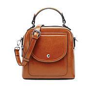 Жіноча шкіряна сумка через плече коричневого кольору, фото 1
