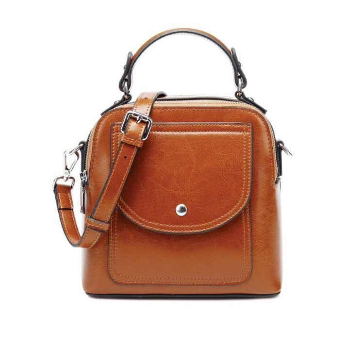 Жіноча шкіряна сумка через плече коричневого кольору
