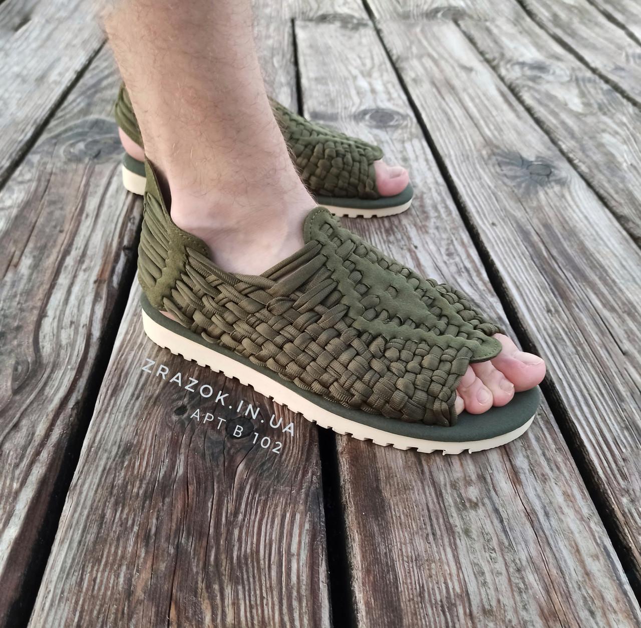 Хакі Зелені шльопанці босоніжки, шльопанці тапки плетінки сандалії літні тапки