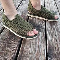Хакі Зелені шльопанці босоніжки, шльопанці тапки плетінки сандалії літні тапки, фото 3