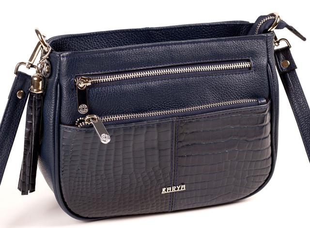 Женская сумка кросс-боди Karya 2135-509 кожаная синяя