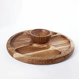 Соусник из дерева тарелка для соусов соусница для менажниц (дуб) МН- 129, фото 2