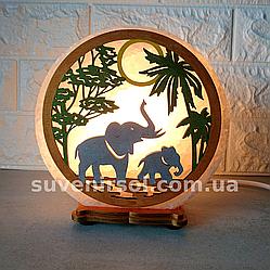 Соляний світильник круглий Слони