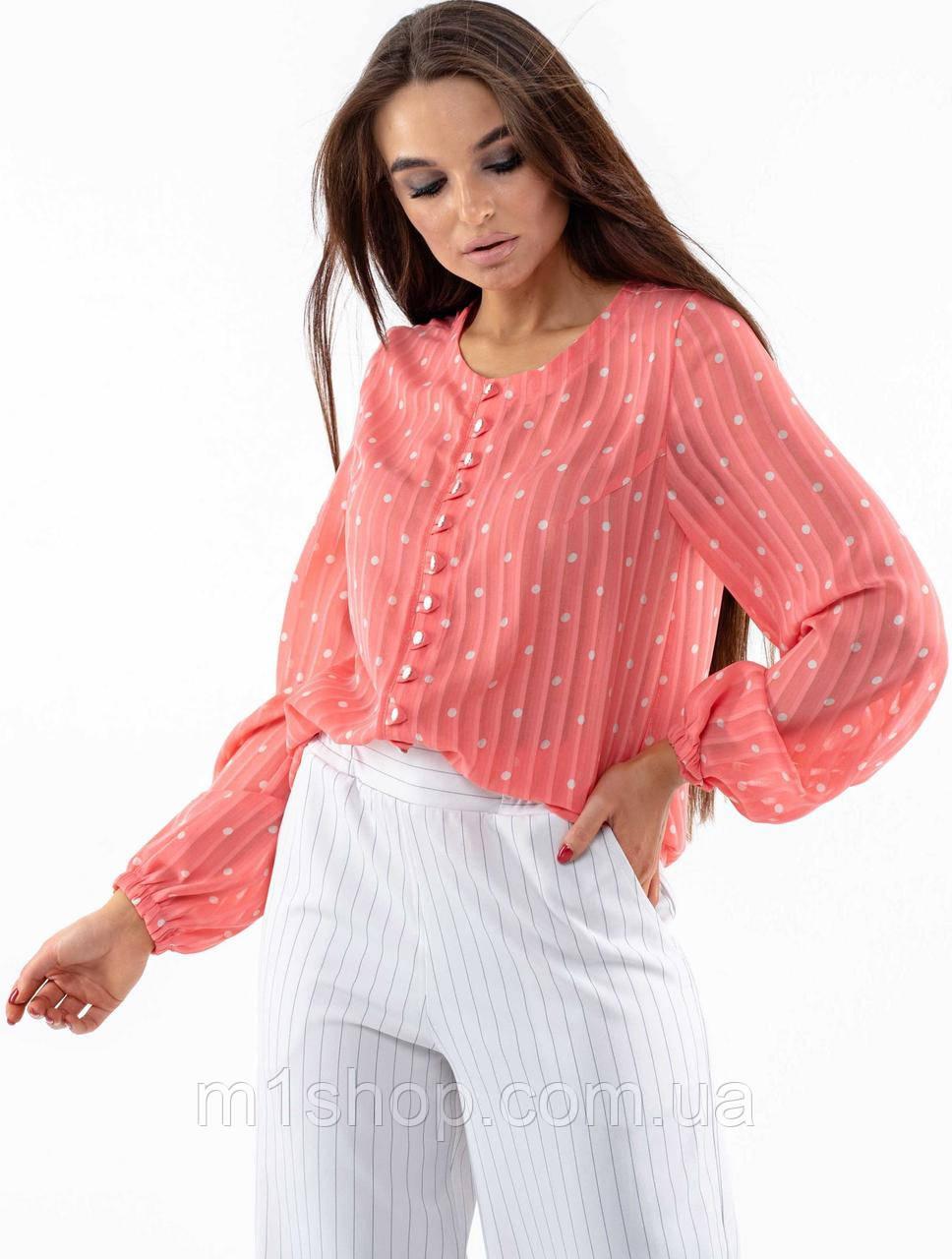 Шифоновая элегантная свободная коралловая женская блуза (Донна ri)