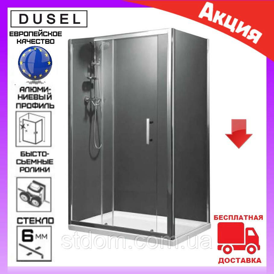 Прямоугольная душевая кабина 120х80 см дверь раздвижная Dusel А-515 стекло шиншилла