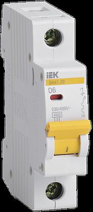 Выключатель автоматический ВА47-29 1Р 6А 4.5кA D IEK, фото 2
